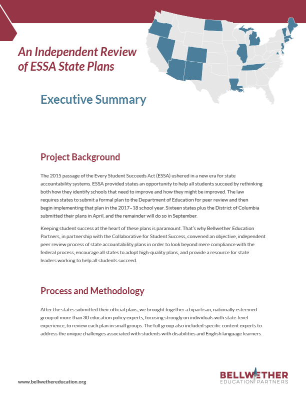 An Independant Review of ESSA State Plans Cover Image
